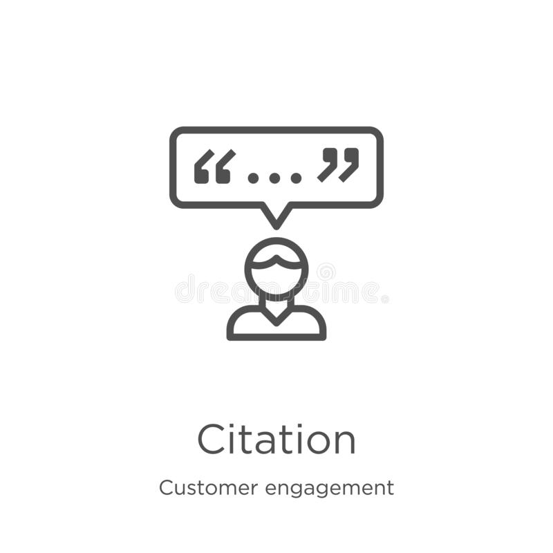 vecteur d'icône de citation de collection d'engagement de client Ligne mince illustration de vecteur d'icône d'ensemble de citati illustration stock