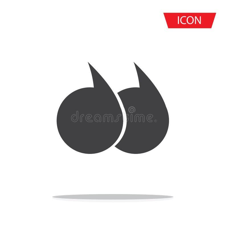 Vecteur d'icône de citations, icône de marque de citation d'isolement sur le fond illustration stock