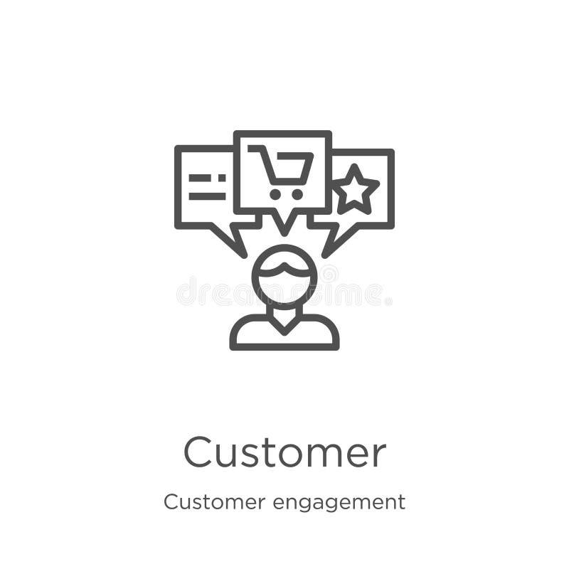 vecteur d'icône de client de collection d'engagement de client Ligne mince illustration de vecteur d'ic?ne d'ensemble de client C illustration libre de droits