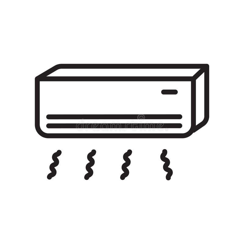 Vecteur d'icône de climatiseur d'isolement sur le fond blanc, le signe de climatiseur, le symbole linéaire et les éléments de con illustration de vecteur