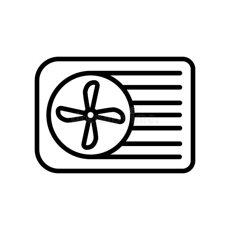 Vecteur d'icône de climatiseur d'isolement sur le fond, le signe de climatiseur, la ligne et les éléments blancs d'ensemble dans  illustration de vecteur