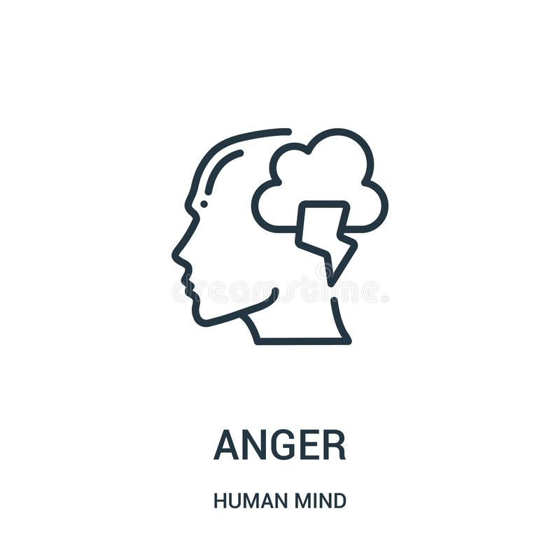 vecteur d'icône de colère de collection d'esprit humain Ligne mince illustration de vecteur d'icône d'ensemble de colère Symbole  illustration stock