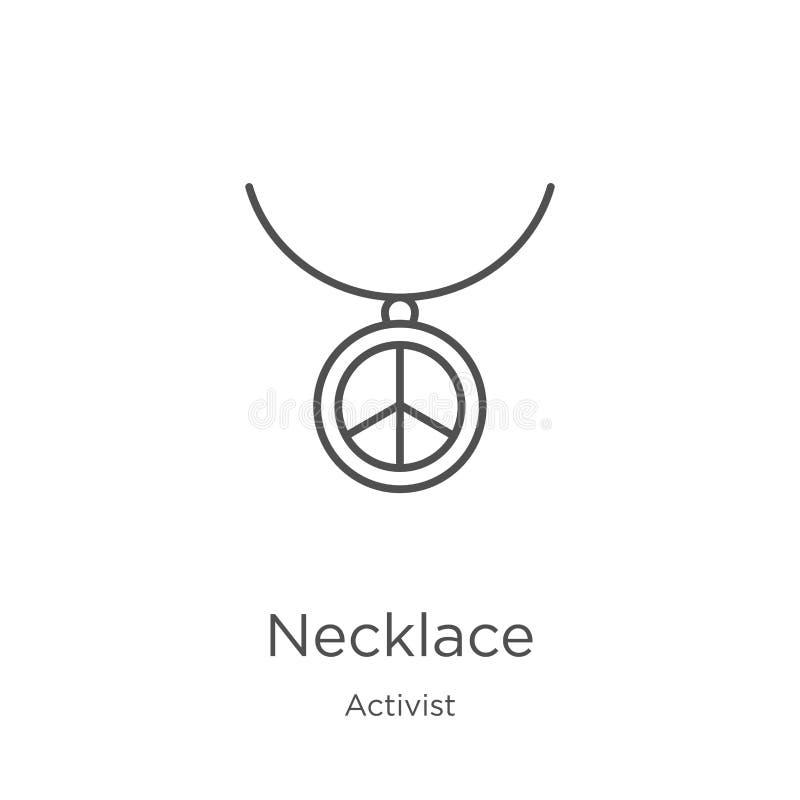 vecteur d'icône de collier de collection d'activiste Ligne mince illustration de vecteur d'icône d'ensemble de collier Contour, l illustration stock