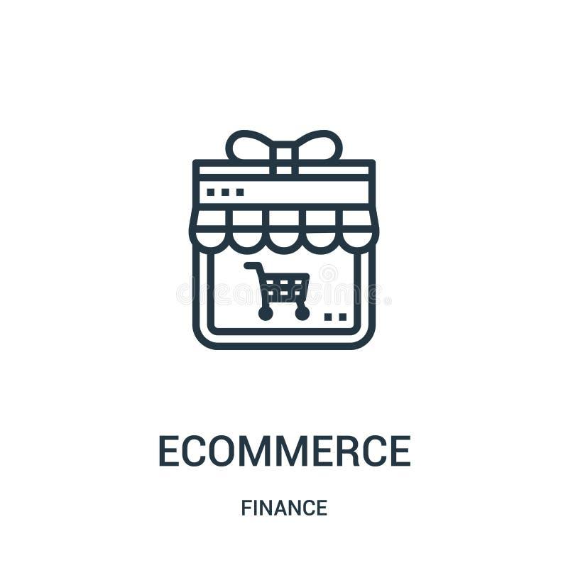vecteur d'icône de commerce électronique de collection de finances Ligne mince illustration de vecteur d'icône d'ensemble de comm illustration stock