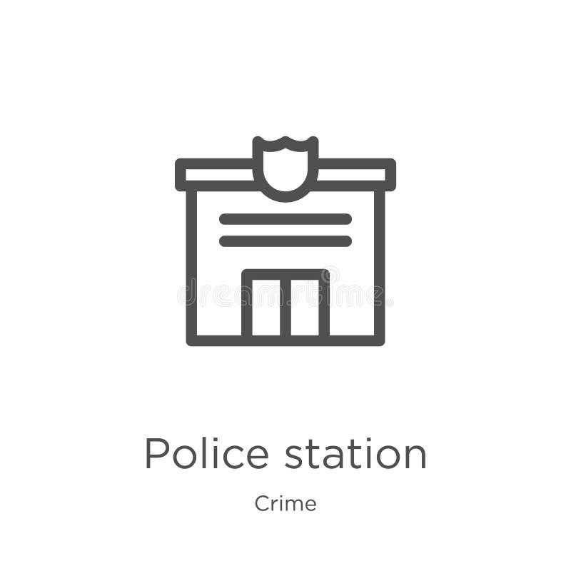 vecteur d'icône de commissariat de police de collection de crime Ligne mince illustration de vecteur d'icône d'ensemble de commis illustration stock