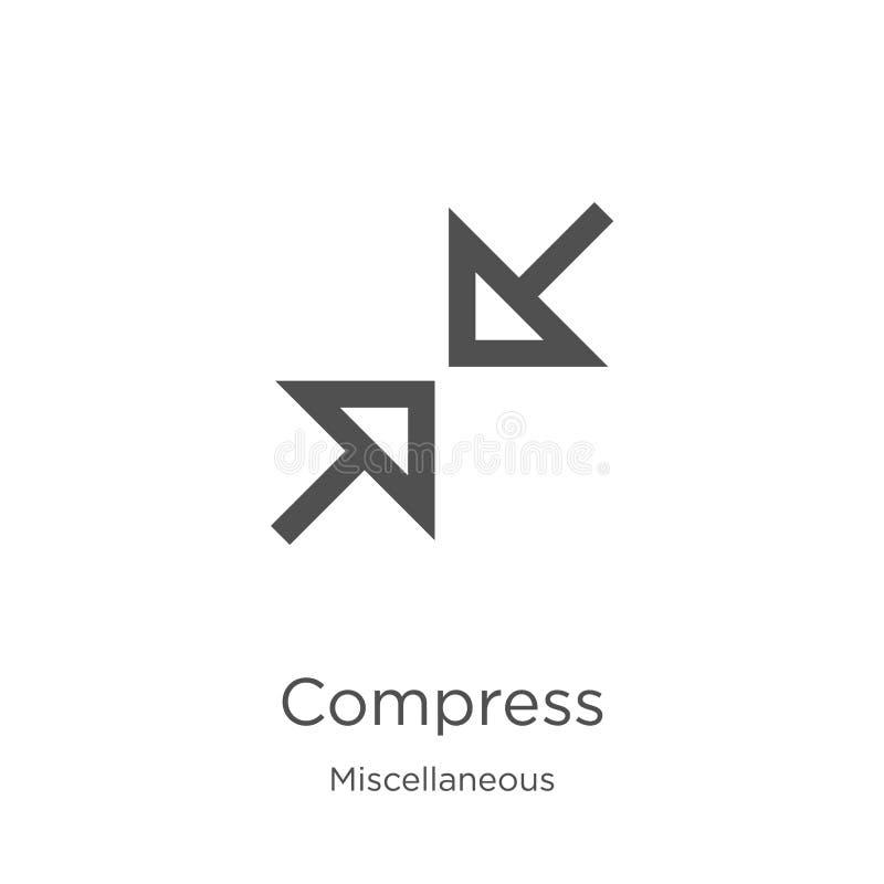 vecteur d'icône de compresse de la collection diverse Ligne mince illustration de vecteur d'icône d'ensemble de compresse Contour illustration stock