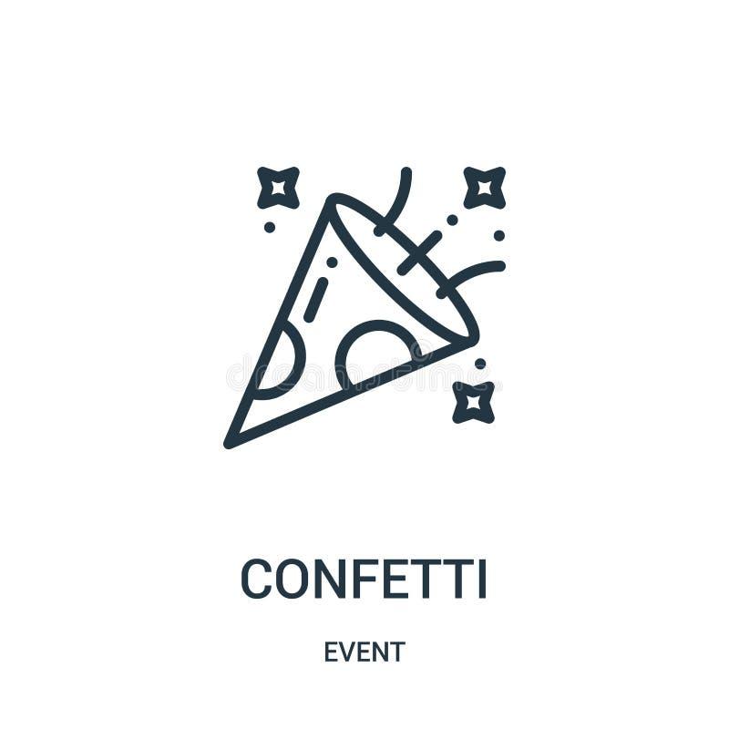 vecteur d'icône de confettis de collection d'événement Ligne mince illustration de vecteur d'ic?ne d'ensemble de confettis illustration de vecteur
