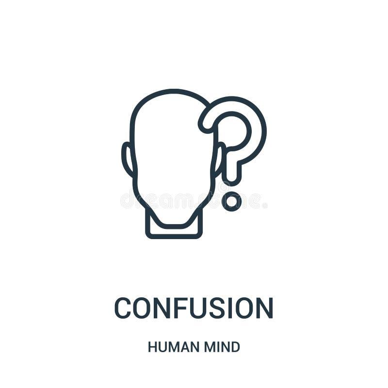 vecteur d'icône de confusion de collection d'esprit humain Ligne mince illustration de vecteur d'icône d'ensemble de confusion Sy illustration libre de droits