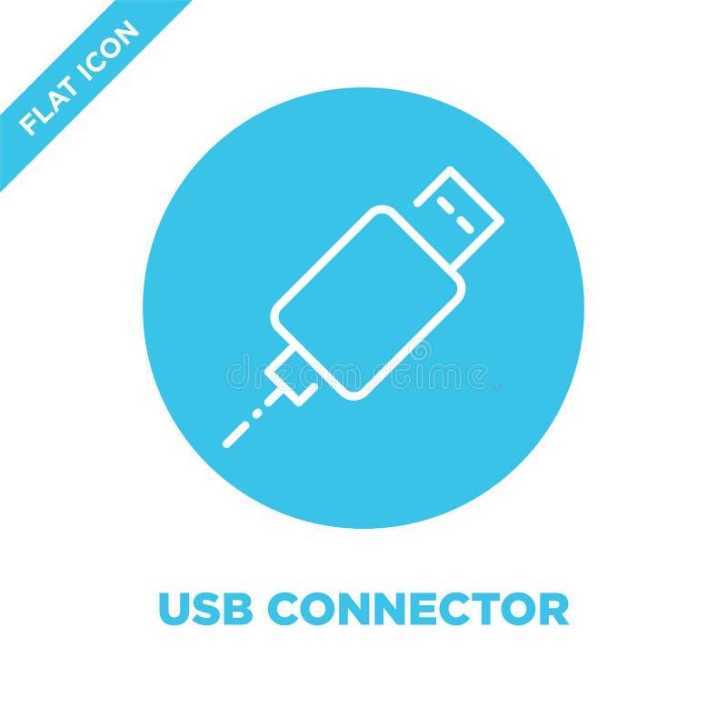 vecteur d'icône de connecteur d'usb Ligne mince illustration de vecteur d'icône d'ensemble de connecteur d'usb symbole de connect illustration de vecteur
