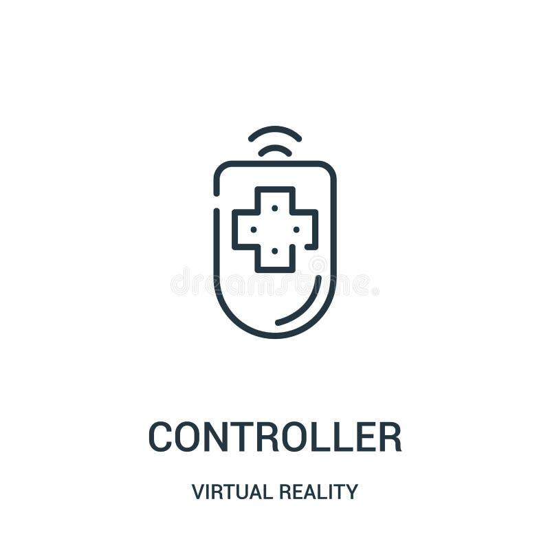 vecteur d'icône de contrôleur de collection de réalité virtuelle Ligne mince illustration de vecteur d'icône d'ensemble de contrô illustration libre de droits