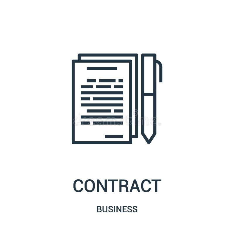 vecteur d'icône de contrat de collection d'affaires Ligne mince illustration de vecteur d'icône d'ensemble de contrat Symbole lin illustration stock
