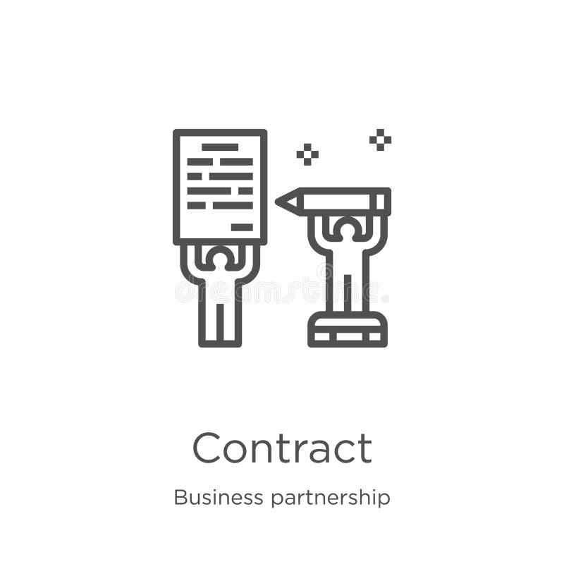 vecteur d'icône de contrat de collection d'association d'affaires Ligne mince illustration de vecteur d'ic?ne d'ensemble de contr illustration stock