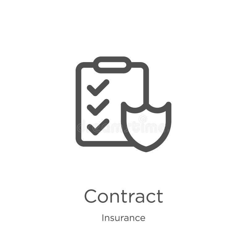 vecteur d'icône de contrat de collection d'assurance Ligne mince illustration de vecteur d'ic?ne d'ensemble de contrat Contour, l illustration de vecteur