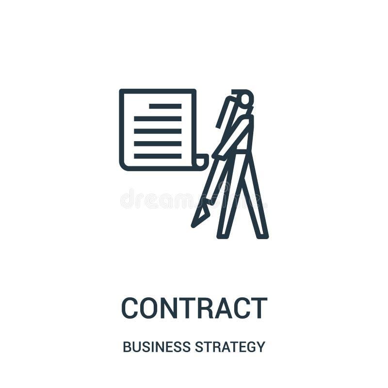 vecteur d'icône de contrat de collection de stratégie commerciale Ligne mince illustration de vecteur d'ic?ne d'ensemble de contr illustration libre de droits