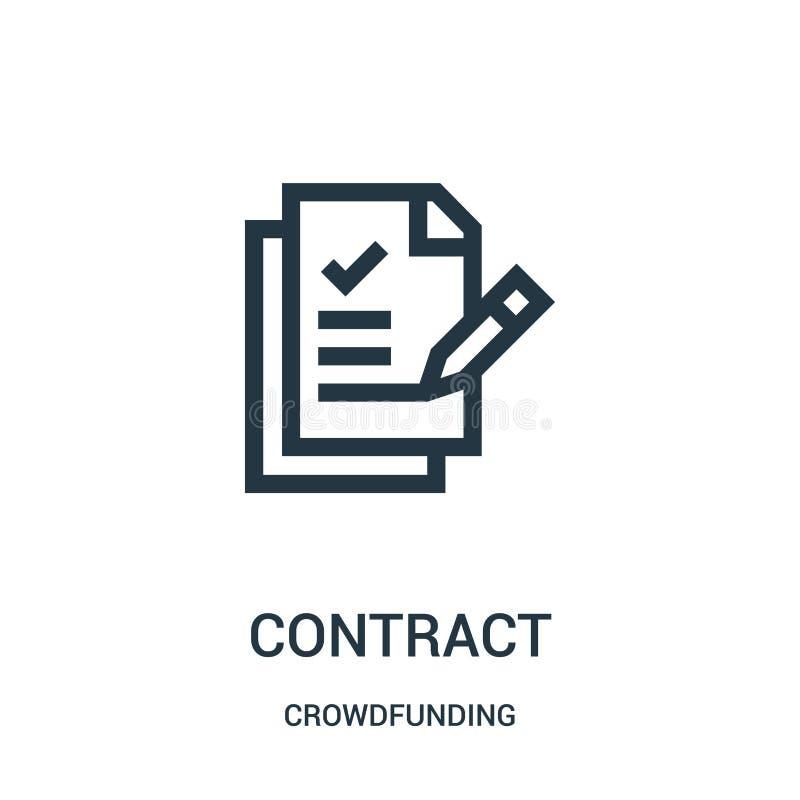 vecteur d'icône de contrat de la collection crowdfunding Ligne mince illustration de vecteur d'ic?ne d'ensemble de contrat illustration stock
