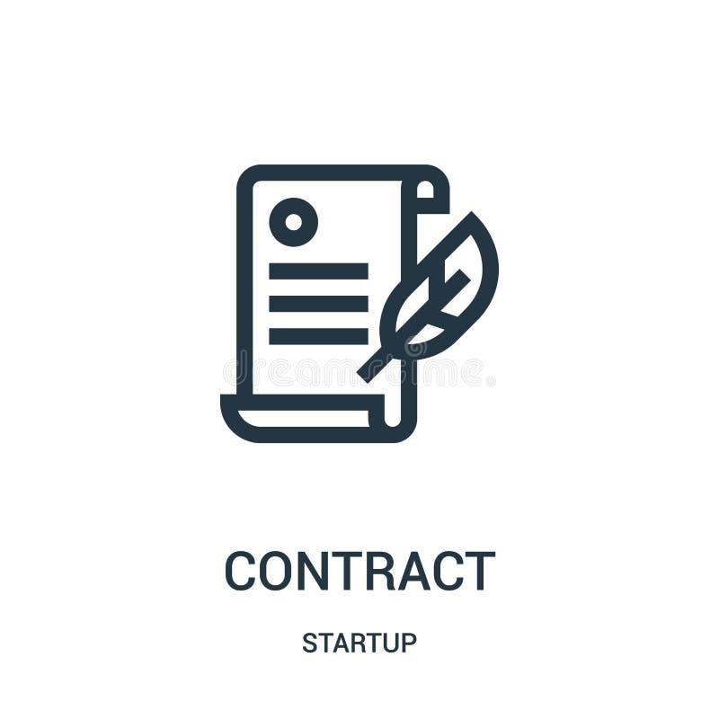 vecteur d'icône de contrat de la collection de démarrage Ligne mince illustration de vecteur d'icône d'ensemble de contrat illustration stock