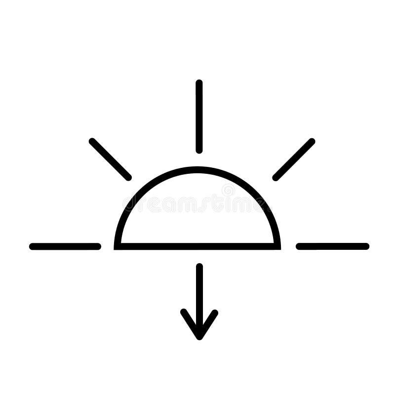 Vecteur d'icône de coucher du soleil illustration stock