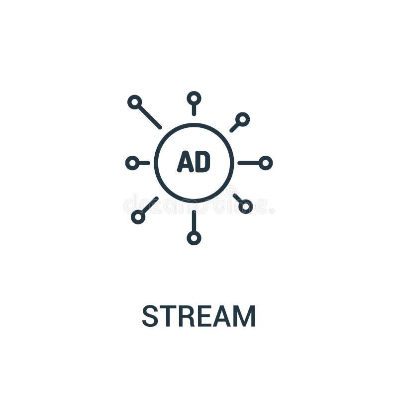 vecteur d'icône de courant de collection d'annonces Ligne mince illustration de vecteur d'icône d'ensemble de courant Symbole lin illustration stock