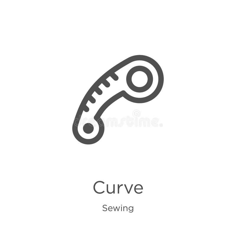 vecteur d'icône de courbe de la collection de couture Ligne mince illustration de vecteur d'ic?ne d'ensemble de courbe Contour, l illustration stock