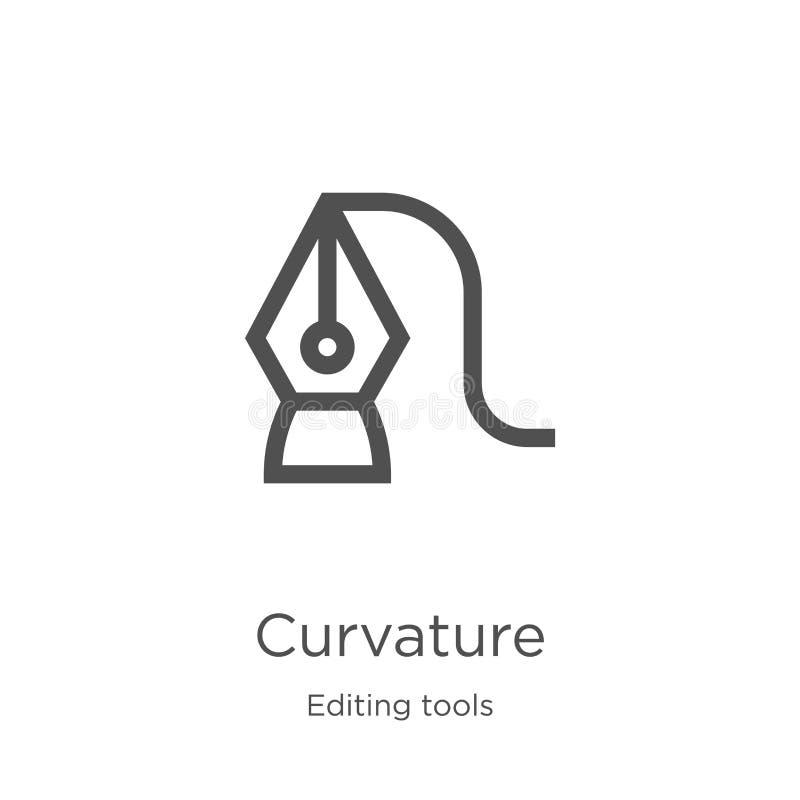 vecteur d'icône de courbure d'éditer la collection d'outils Ligne mince illustration de vecteur d'icône d'ensemble de courbure Co illustration de vecteur