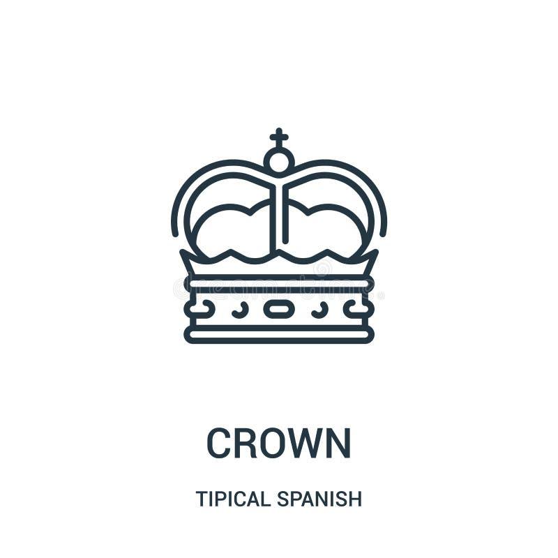 vecteur d'icône de couronne de la collection espagnole tipical Ligne mince illustration de vecteur d'icône d'ensemble de couronne illustration stock