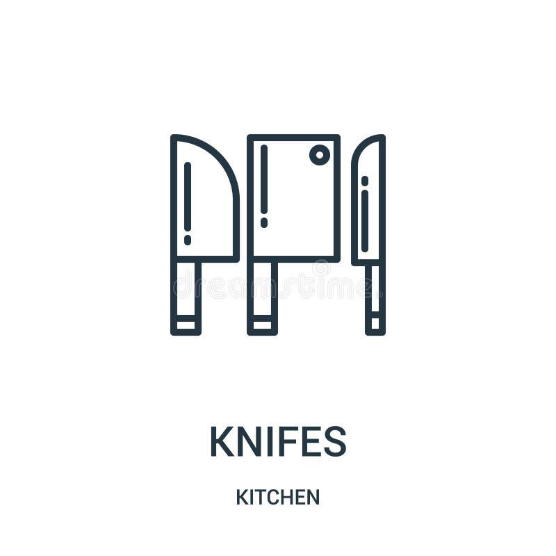 vecteur d'icône de couteaux de collection de cuisine Ligne mince illustration de vecteur d'icône d'ensemble de couteaux Symbole l illustration stock