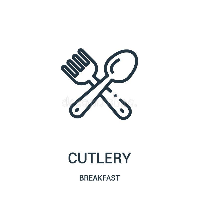vecteur d'icône de couverts de collection de petit déjeuner Ligne mince illustration de vecteur d'icône d'ensemble de couverts illustration de vecteur