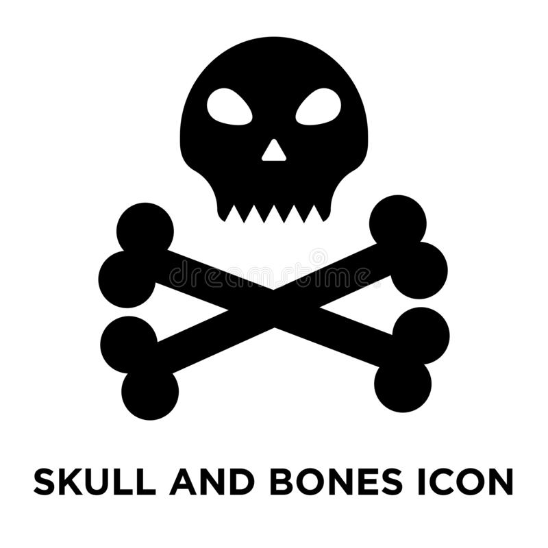 Vecteur d'icône de crâne et d'os d'isolement sur le fond blanc, logo c illustration stock