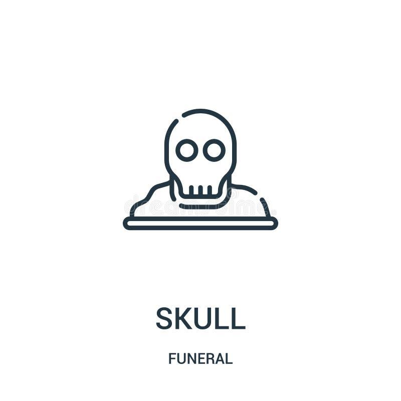 vecteur d'icône de crâne de la collection funèbre Ligne mince illustration de vecteur d'icône d'ensemble de crâne Symbole linéair illustration stock