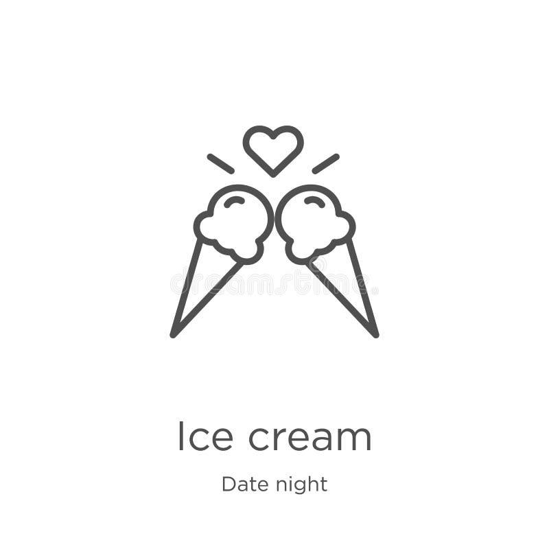 vecteur d'icône de crème glacée de collection de nuit de date Ligne mince illustration de vecteur d'icône d'ensemble de crème gla illustration de vecteur