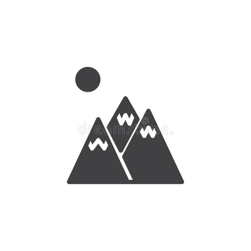 Vecteur d'icône de crêtes de montagne d'hiver illustration stock