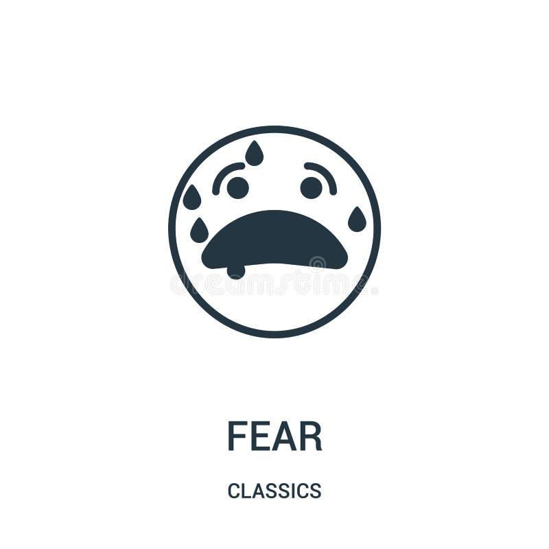 vecteur d'icône de crainte de collection de classiques Ligne mince illustration de vecteur d'icône d'ensemble de crainte Symbole  illustration stock
