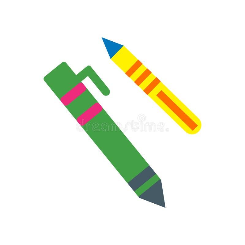 Vecteur d'icône de crayon d'isolement sur le fond blanc, signe de crayon, symboles colorés d'équipement illustration de vecteur