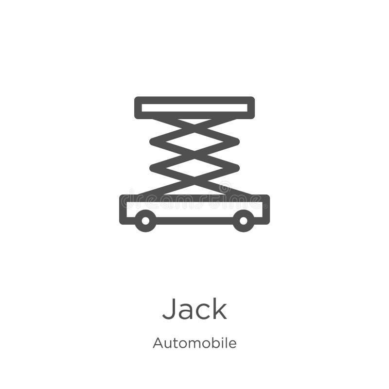 vecteur d'icône de cric de collection d'automobile Ligne mince illustration de vecteur d'ic?ne d'ensemble de cric Contour, ligne  illustration stock