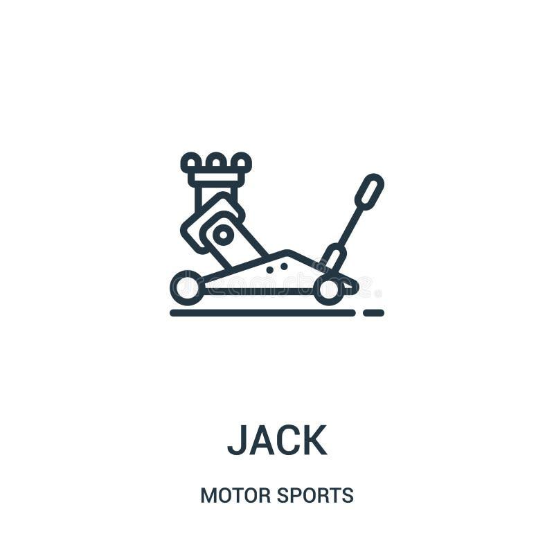 vecteur d'icône de cric de collection de sports automobiles Ligne mince illustration de vecteur d'ic?ne d'ensemble de cric Symbol illustration stock