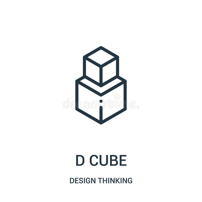 vecteur d'icône de cube en d de la collection de pensée de conception Ligne mince illustration de vecteur d'ic?ne d'ensemble de c illustration stock