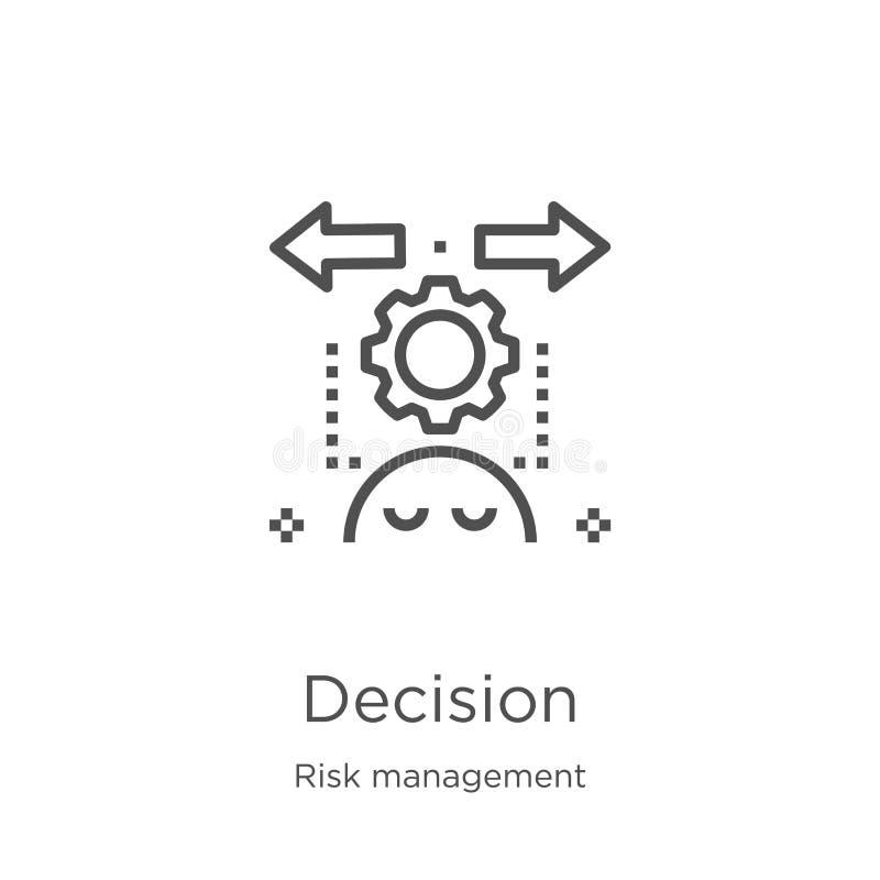 vecteur d'icône de décision de collection de gestion des risques Ligne mince illustration de vecteur d'icône d'ensemble de décisi illustration de vecteur