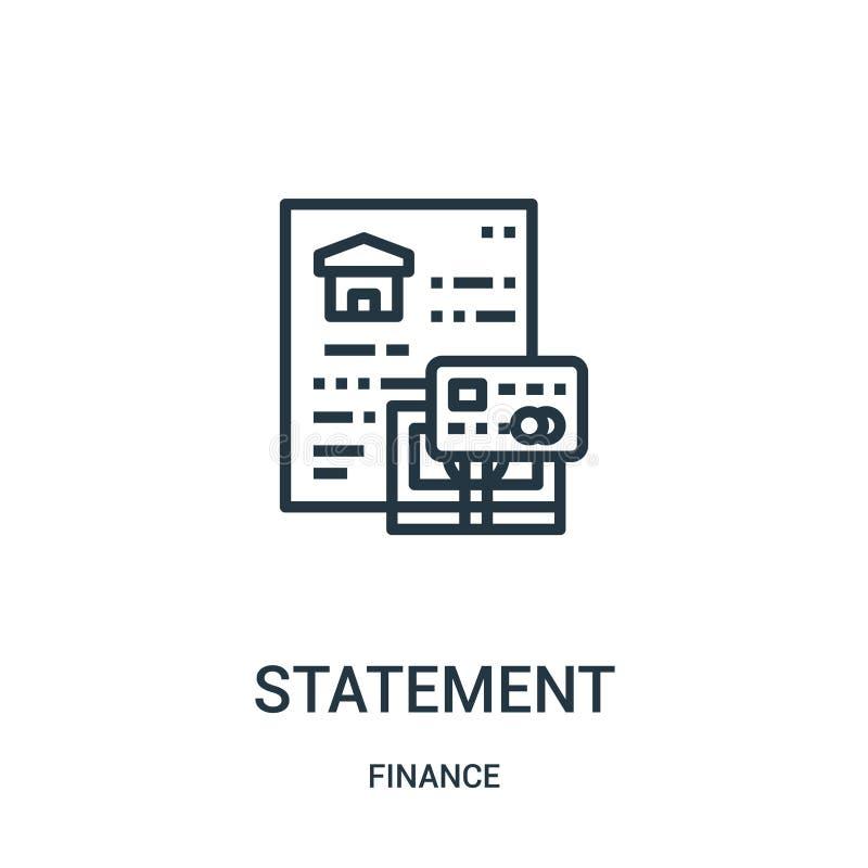vecteur d'icône de déclaration de collection de finances Ligne mince illustration de vecteur d'icône d'ensemble de déclaration Sy illustration stock