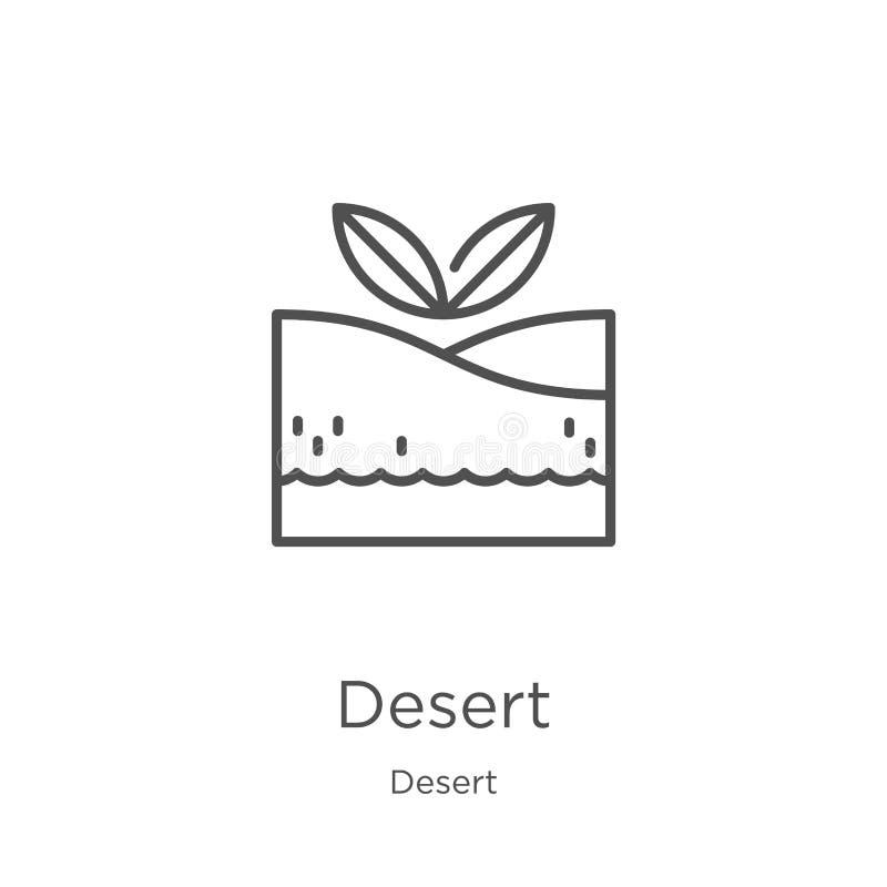 vecteur d'icône de désert de collection de désert Ligne mince illustration de vecteur d'ic?ne d'ensemble de d?sert Contour, ligne illustration stock