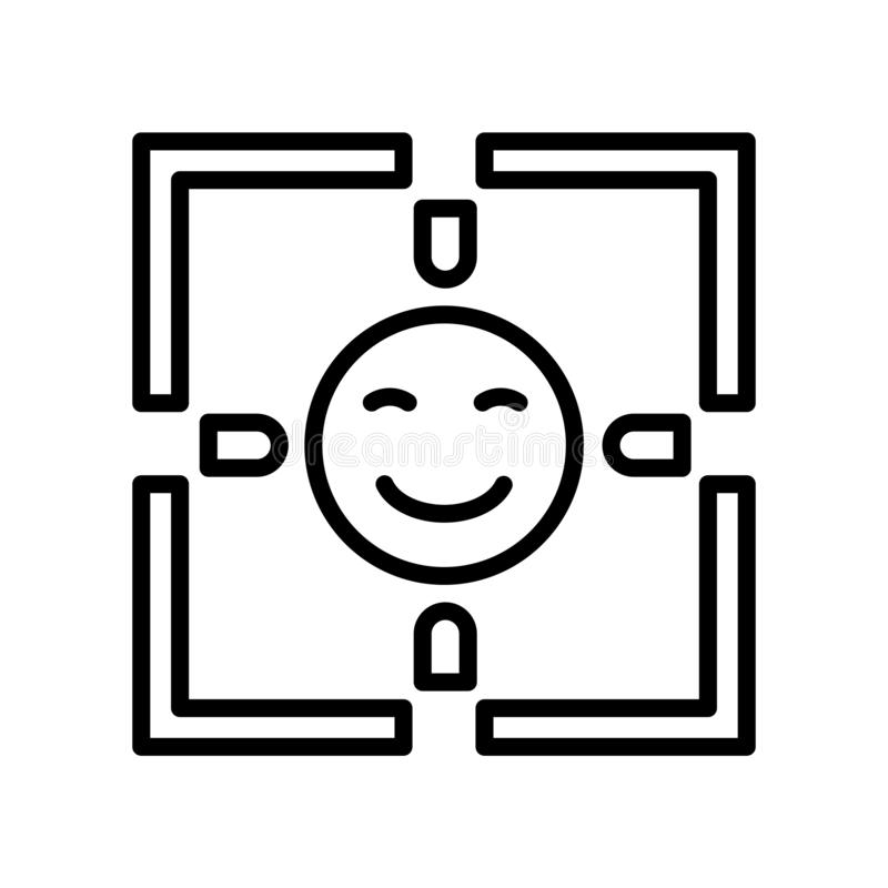Vecteur d'icône de détection de visage d'isolement sur le fond blanc, visage De illustration de vecteur