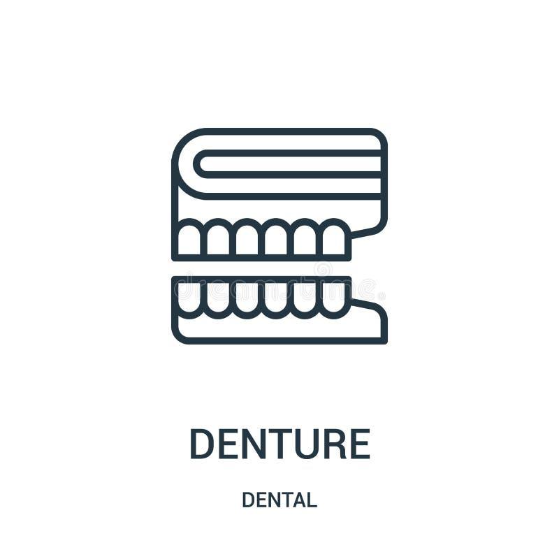 vecteur d'icône de dentier de la collection dentaire Ligne mince illustration de vecteur d'icône d'ensemble de dentier Symbole li illustration de vecteur