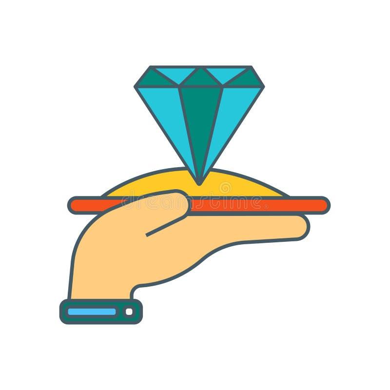 Vecteur d'icône de diamant d'isolement sur le fond blanc, signe de diamant illustration stock