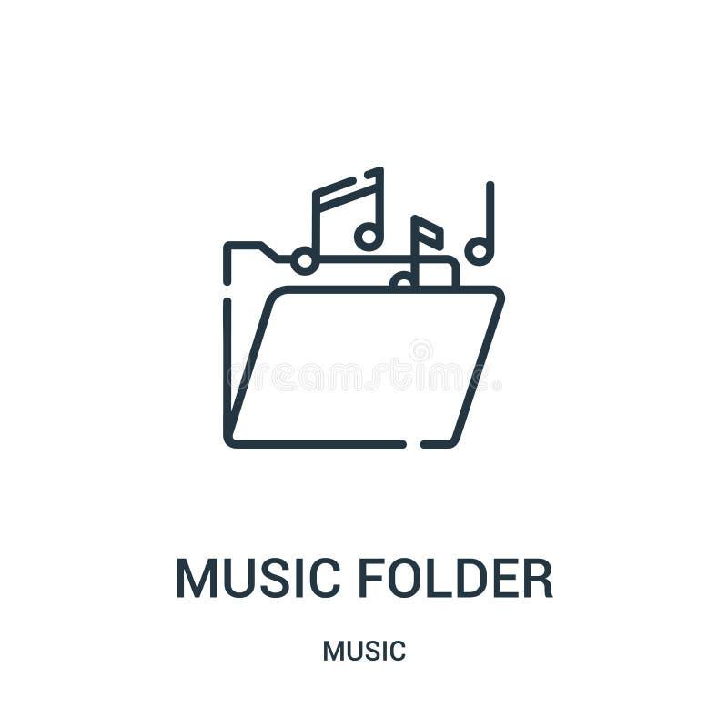 vecteur d'icône de dossier de musique de collection de musique Ligne mince illustration de vecteur d'icône d'ensemble de dossier  illustration libre de droits