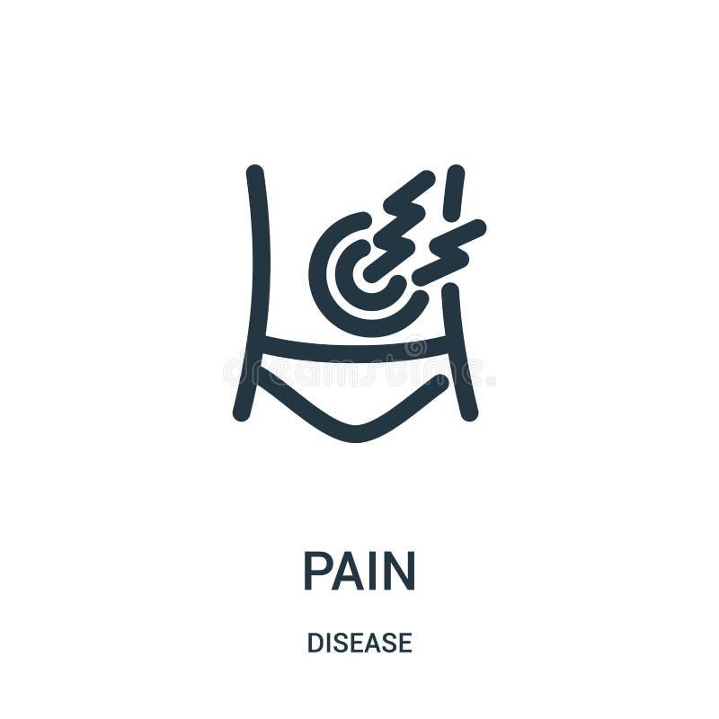 vecteur d'icône de douleur de collection de la maladie Ligne mince illustration de vecteur d'icône d'ensemble de douleur Symbole  illustration de vecteur