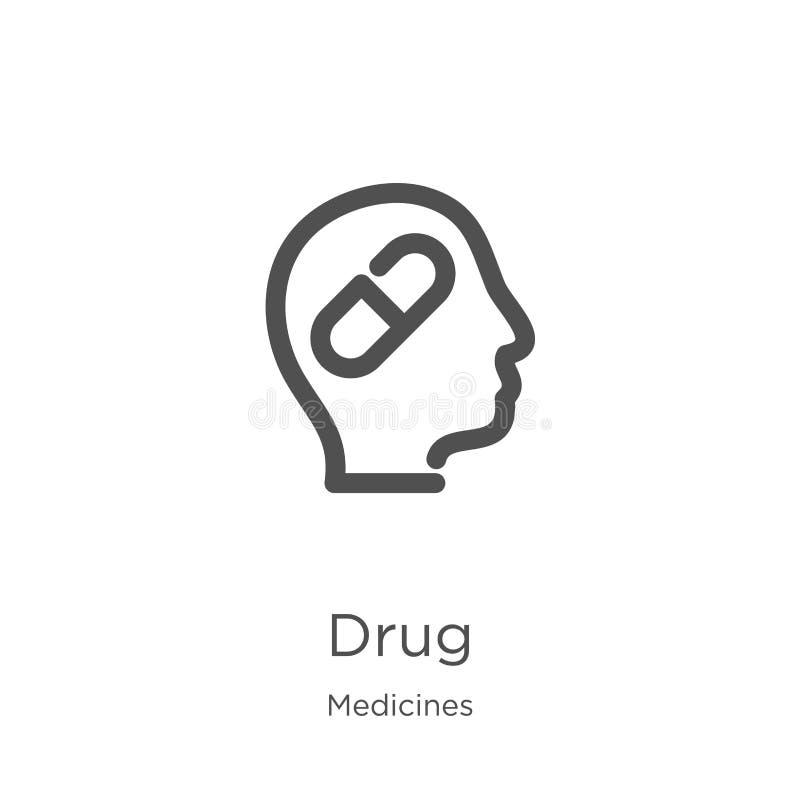 vecteur d'icône de drogue de collection de médecines Ligne mince illustration de vecteur d'icône d'ensemble de drogue Contour, li illustration stock