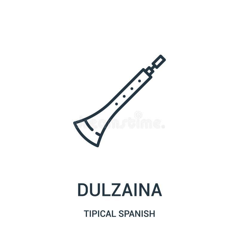 vecteur d'icône de dulzaina de la collection espagnole tipical Ligne mince illustration de vecteur d'icône d'ensemble de dulzaina illustration libre de droits