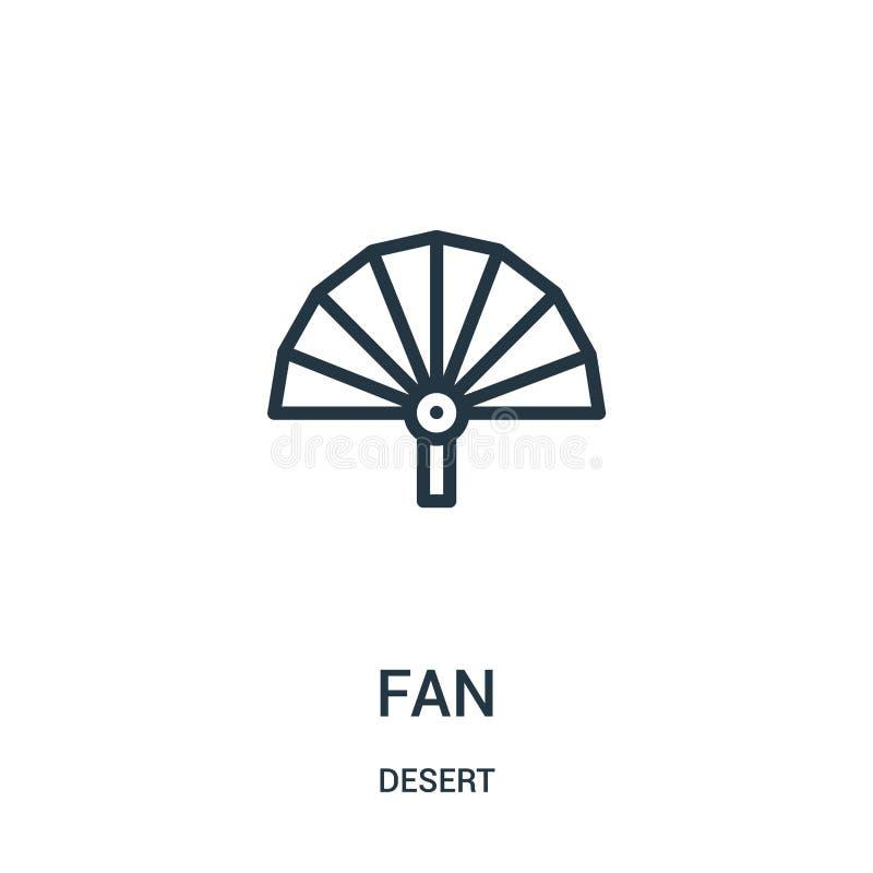 vecteur d'icône de fan de collection de désert Ligne mince illustration de vecteur d'icône d'ensemble de fan Symbole linéaire pou illustration de vecteur