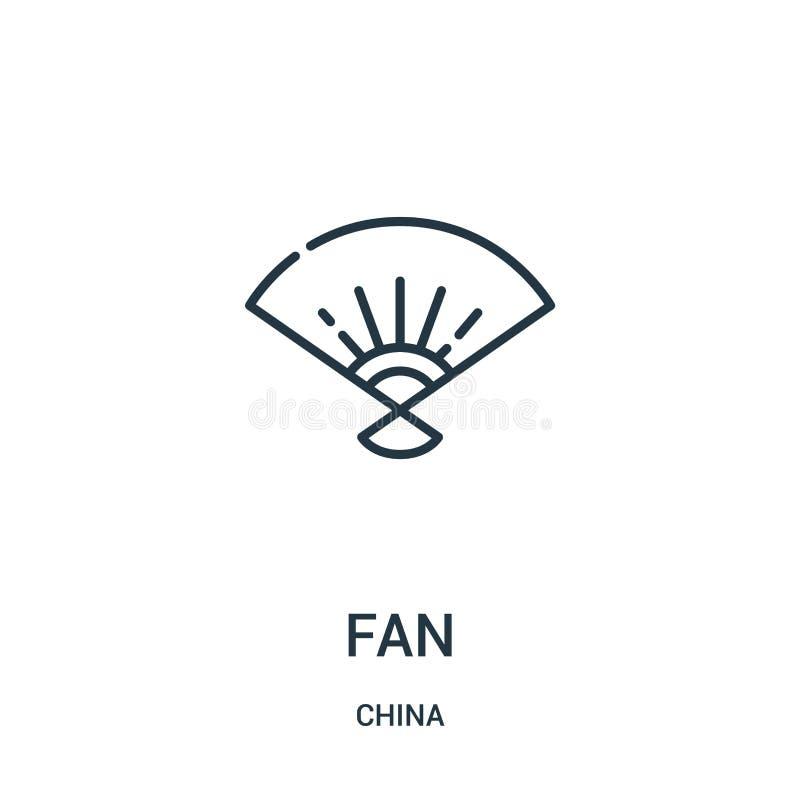 vecteur d'icône de fan de collection de porcelaine Ligne mince illustration de vecteur d'icône d'ensemble de fan Symbole linéaire illustration libre de droits