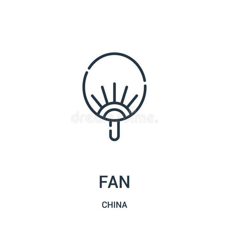 vecteur d'icône de fan de collection de porcelaine Ligne mince illustration de vecteur d'icône d'ensemble de fan Symbole linéaire illustration stock