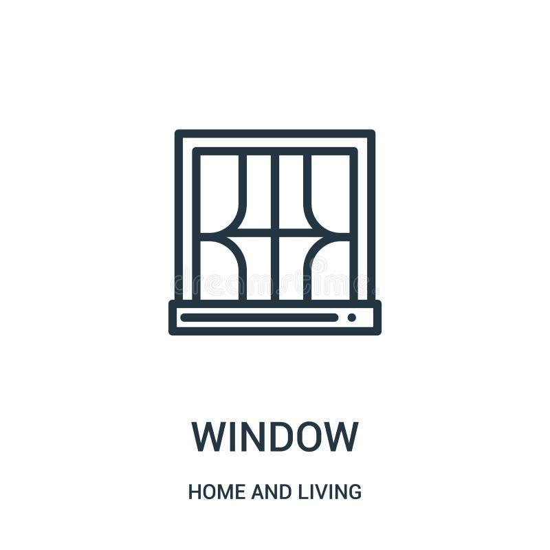vecteur d'icône de fenêtre de maison et de collection vivante Ligne mince illustration de vecteur d'icône d'ensemble de fenêtre S illustration de vecteur